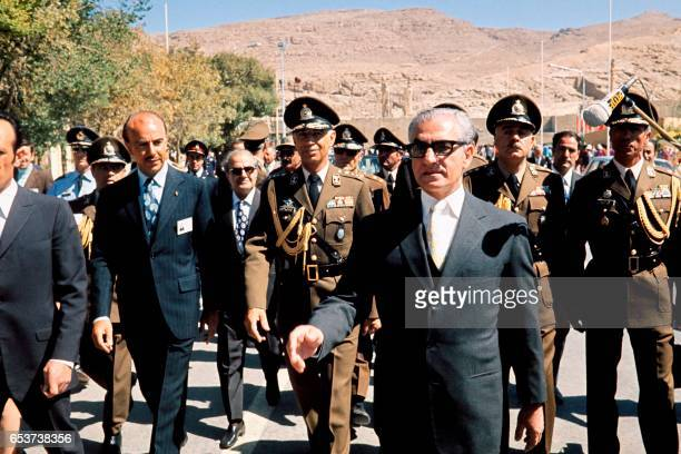 Photo taken in October 1971 shows Chah Mohammad Reza Palhavi arriving at a commemoration of the 2500th anniversary of the Persian empire in...