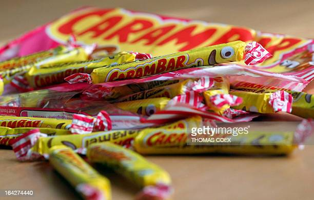 A photo taken in Paris shows French caramel candies Carambar on March 22 2013 in Paris after US Kraft Foods manufacturer announced they will cease...