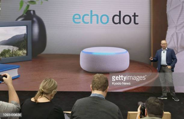 Photo taken in September 2018 shows the Echo Dot smart speaker developed by Amazoncom at a launch event in Seattle the United States ==Kyodo