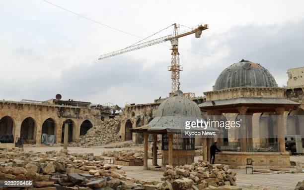 Photo taken in the old city area of Aleppo northern Syria on Feb 21 2018 shows the Umayyad Mosque with building stone to be used to restore the...