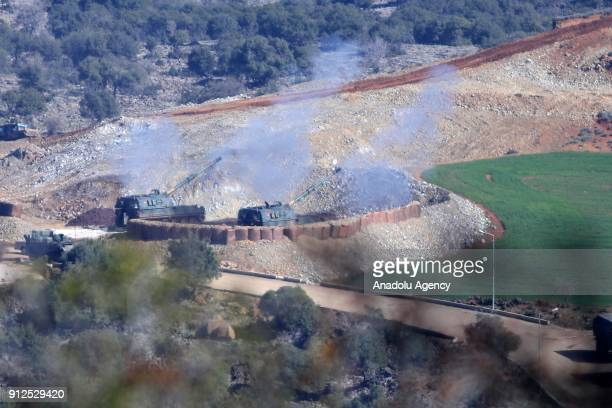 A photo taken in Turkey's Hatay province on January 31 2018 shows Turkish Armed Forces' howitzers as they continue to hit PYD/PKK terror group...