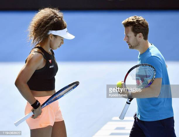 Photo taken Jan 18 in Melbourne shows Japanese tennis player Naomi Osaka and her coach Wim Fissette during a practice session for the Australian Open...