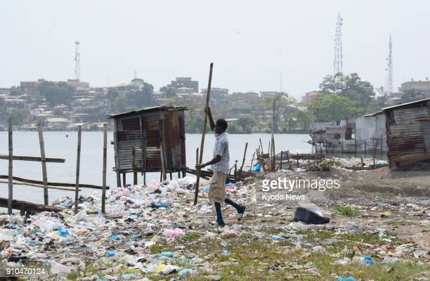Photo taken Jan 20 shows a slum in Monrovia Liberia where George Weah the country's new president and a former world football star was born and...