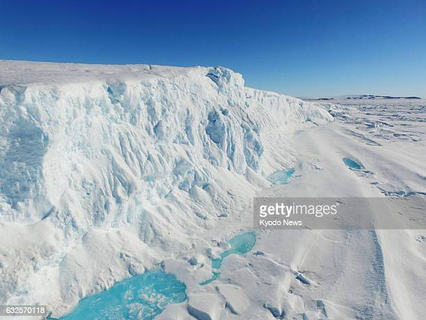 Photo taken Jan 22 from a drone shows the head of a glacier at LutzowHolm Bay Antarctica where a Japanese observation team is involved in research on...
