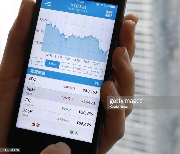 Photo taken Jan 29 in Tokyo shows a smartphone displaying an app of Coincheck Inc the virtual currency exchange which admitted 58 billion yen in the...