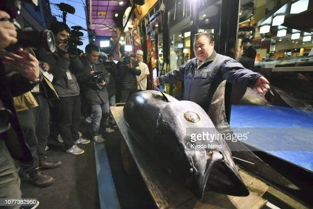 Photo taken Jan 5 shows a bluefin tuna which fetched a record 3336 million yen in a New Year's auction held earlier in the day at the relocated...