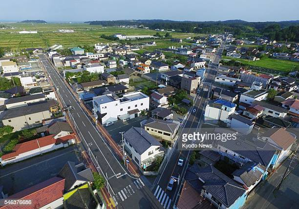 Photo taken July 11 from a drone shows the northeastern Japan city of Minamisoma in which areas subject to evacuation orders since the March 2011...