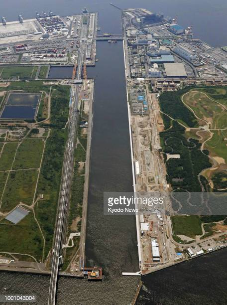 Photo taken July 11 from a Kyodo News helicopter shows the Sea Forest Waterway under construction which will be used at the 2020 Tokyo Olympics and...