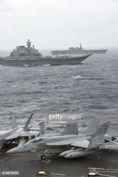 Photo taken July 17 shows a joint drill of Japan's Maritime SelfDefense Force and the US as well as Indian navies in the Bay of Bengal The 'Malabar'...