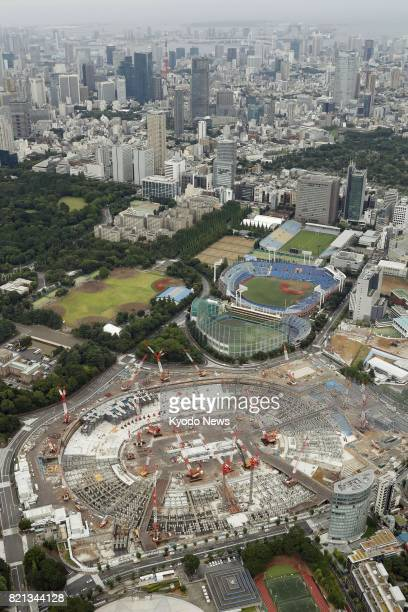 Photo taken July 23 from a Kyodo News helicopter shows the construction site of the main 2020 Tokyo Olympics stadium Just three years remained on...