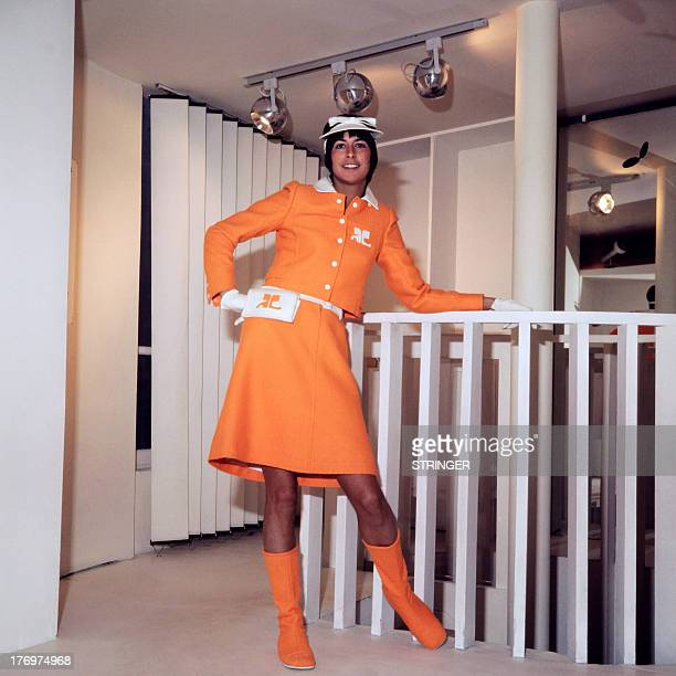 A photo taken July 25 1970 in Paris shows a model displaying a creation for Courrèges 1971 Spring/Summer hautecouture collection AFP PHOTO / AFP /