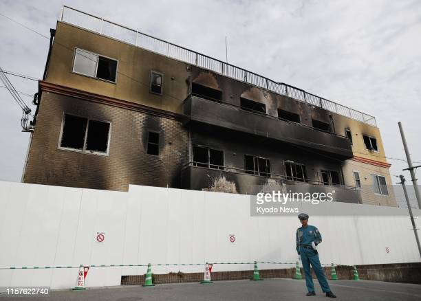 Photo taken July 25 shows the burntout threestory studio of Kyoto Animation Co in Kyoto a week after an arson attack that killed 34 people ==Kyodo