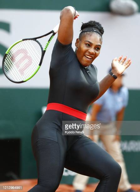 Photo taken June 2 shows Serena Williams of the United States playing against Julia Goerges of Germany in the third round of the French Open tennis...