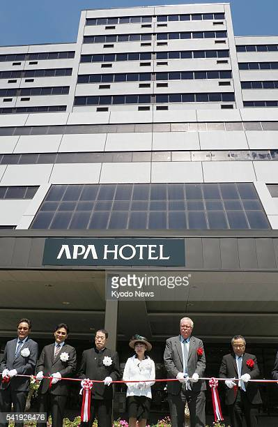 Photo taken June 20 in Iselin, New Jersey, shows a grand opening of APA Hotel Woodbridge, the first property in Japanese hotel chain APA Group's...