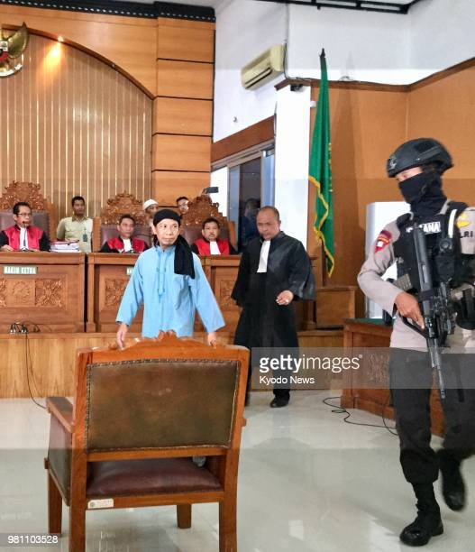 Photo taken June 22 shows Aman Abdurrahman a key Islamic State figure in Indonesia at the South Jakarta District Court Aman was sentenced to death...