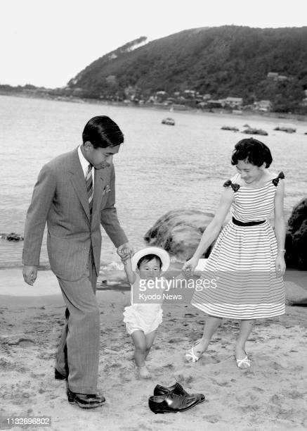 Photo taken June 24 shows a young Prince Hiro now Japanese Crown Prince Naruhito with his parents Crown Prince Akihito the current emperor and Crown...