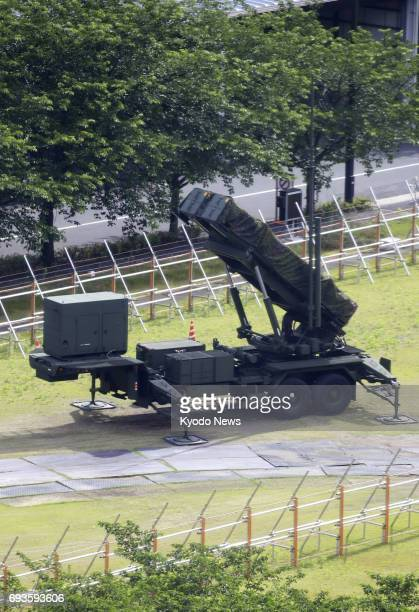 Photo taken June 8 shows the Patriot Advanced Capability3 surfacetoair guided interceptor missile system deployed on the premises of Japan's Defense...