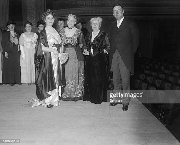 Photo taken just after the great suffrage meeting attended by over three thousand people who jammed Carnegie Hall New York shows Mrs Philip Snowden...
