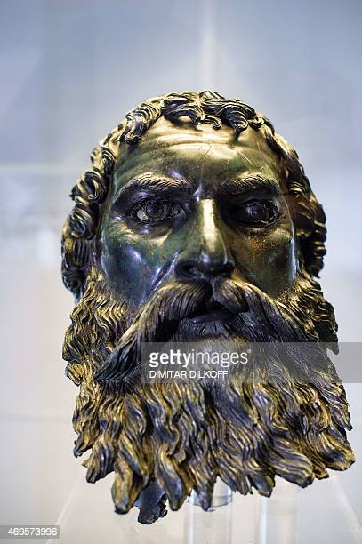 A photo taken March 10 shows a bronze head found near the village of Shipka dating back to the 3rd century BC at the National History Museum in Sofia...