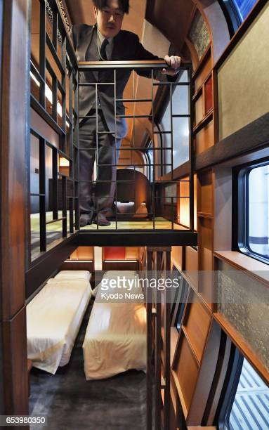 Photo taken March 16 at JR Ueno Station in Tokyo shows a twostory suite inside Train Suite ShikiShima East Japan Railway Co's new luxury sleeper...