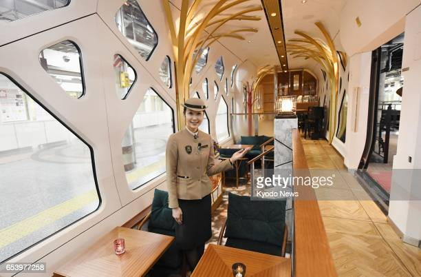 Photo taken March 16 at JR Ueno Station in Tokyo shows the lounge inside Train Suite ShikiShima East Japan Railway Co's new luxury sleeper train...