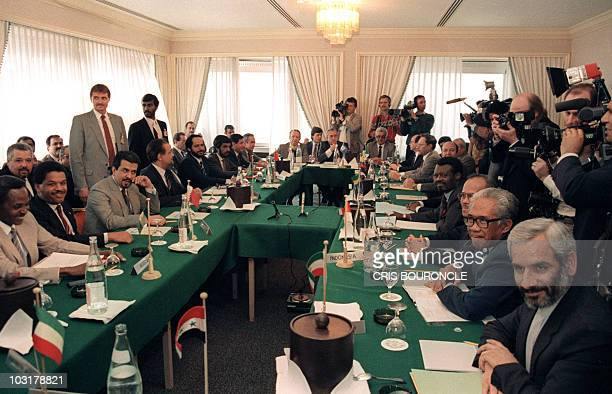 A photo taken March 17 of an OPEC meeting in Geneva Average world oil prices fall by over 50 percent in 1986 There is wide use of netback pricing The...