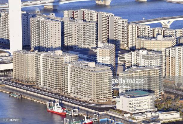 Photo taken March 24 shows the athletes village for the Tokyo Olympics and Paralympics, which will be turned into the Harumi Flag condominium complex...
