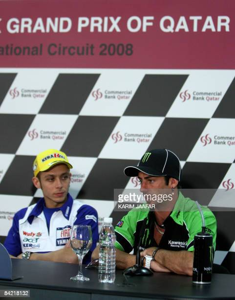 Photo taken March 6 2008 shows Kawasaki rider John Hopkins of the US speaking as Valentino Rossi of Italy listens during a press conference held in...