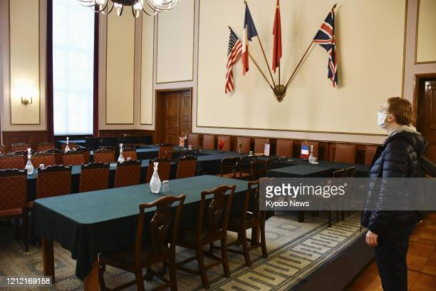 Photo taken May 7 shows a room in Berlin where German military leaders signed a surrender document at the end of World War II in Europe in 1945