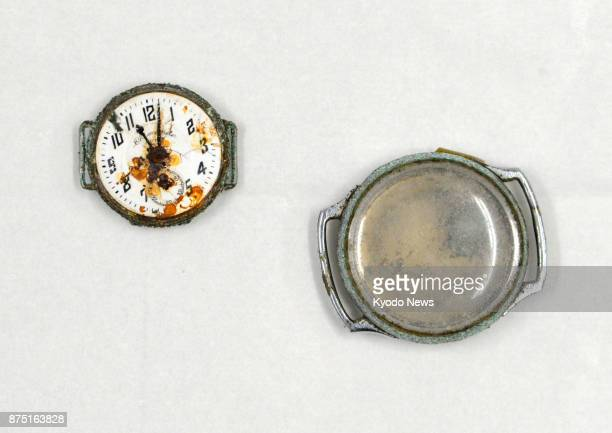 Photo taken Nov 17 shows a watch that has been stopped at 1102 am since the 1945 atomic bombing of Nagasaki Items including the watch from the atomic...