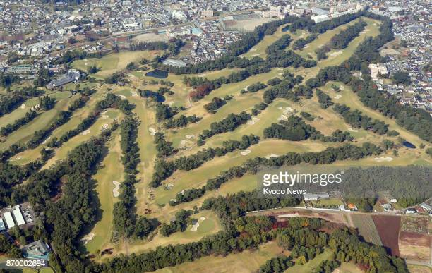 Photo taken Nov 2 from a Kyodo News helicopter shows Kasumigaseki Country Club in Kawagoe Saitama Prefecture where US President Donald Trump is...