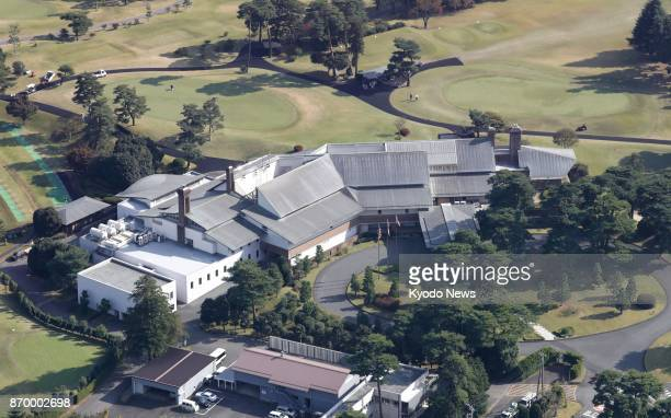 Photo taken Nov 2 from a Kyodo News helicopter shows the clubhouse of Kasumigaseki Country Club in Kawagoe Saitama Prefecture where US President...