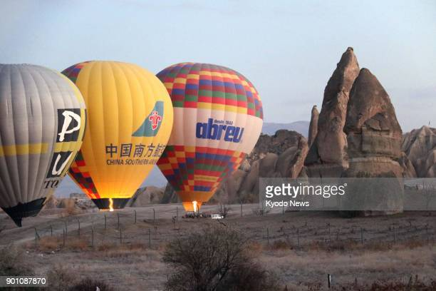 Photo taken Nov 30 shows hot air balloons in Cappadocia Turkey that are popular among Chinese tourists More Chinese tourists are expected to visit as...