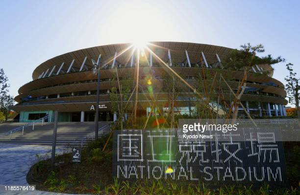 Photo taken Nov 30 shows the new National Stadium the main venue for the 2020 Tokyo Olympics and Paralympics that was officially completed the same...