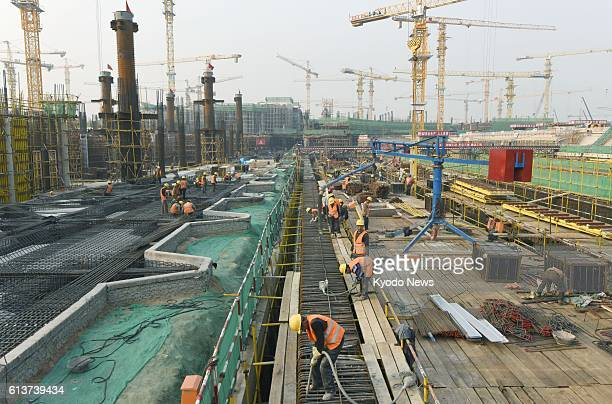 Photo taken Oct 10 shows the construction site of a new airport in the south of Beijing which opened to some foreign media for the first time The...