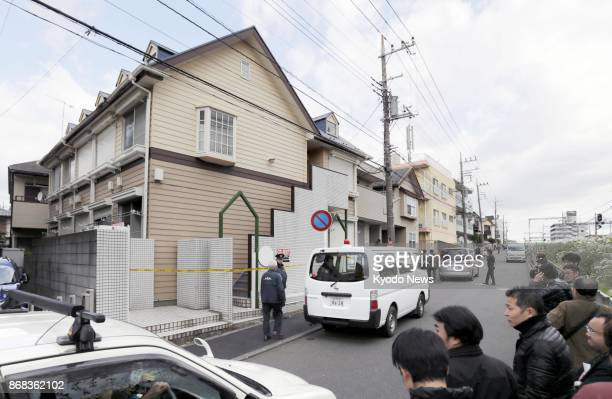 Photo taken Oct 31 2017 shows an apartment house in Zama Kanagawa Prefecture where police found nine bodies in one of its units The apartment is the...