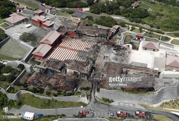 Photo taken Oct 31 from a Kyodo News helicopter shows Shuri Castle a World Heritage site in Naha Okinawa Prefecture southern Japan after its main...