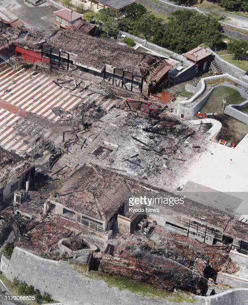 Photo taken Oct 31 from a Kyodo News helicopter shows the Seiden main hall of Shuri Castle in Naha Okinawa Prefecture southern Japan razed by a fire...