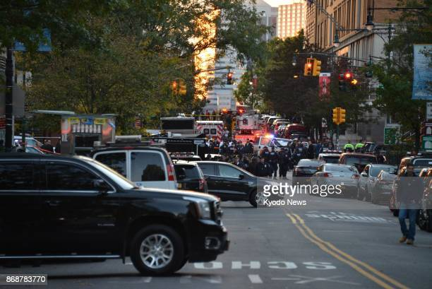 Photo taken Oct 31 shows a street near the scene of a deadly truck attack in lower Manhattan New York At least eight people were killed and many...