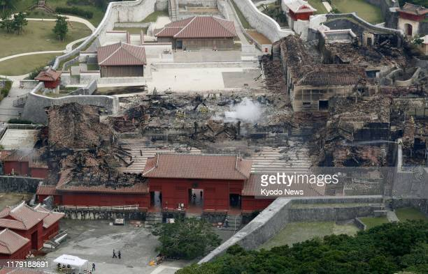 Photo taken Oct 31 shows Shuri Castle in Naha Okinawa Prefecture southern Japan after a fire engulfed the historic castle earlier in the day