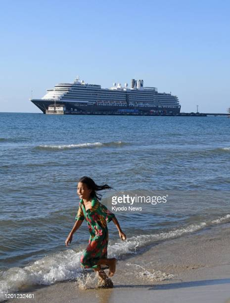 Photo taken off the port of Sihanoukville Cambodia on Feb 14 shows the Westerdam cruise ship that was turned away from at least five ports in Asia...