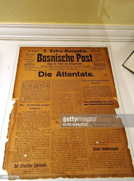 A photo taken on April 1 2014 shows the frontpage of 3rd extra issue of the 'Bosniche Post' newspaper bringing headline 'The Assassination' at the...