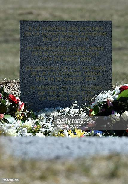 A photo taken on April 1 2015 shows a stela commemorating the victims of the March 24 Germanwings Airbus A320 crash in the village of Le Vernet The...