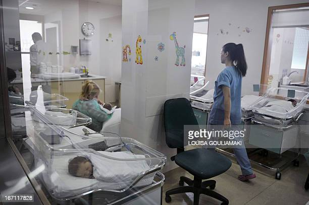 A photo taken on April 12 2013 shows a nursery of a maternity hospital in Athens Sunk in recession for the past six years and struggling to steer its...