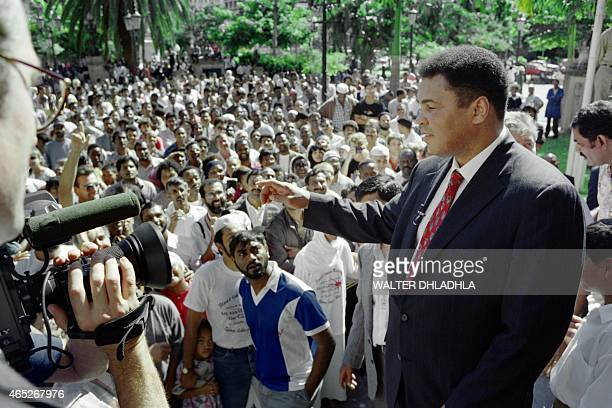 Photo taken on April 13 1993 shows Boxing legend Muhammad Ali during his twoweek visit in Durban South Africa where he was invited by black and...