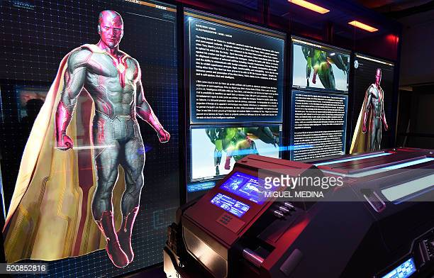 """Photo taken on April 13, 2016 shows Marvel Comics superhero """"Vision"""" on display at the interactive Marvel Avengers STATION exhibition in the bussines..."""