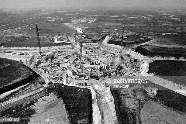 Photo taken on April 15 1970 shows the first terminal's construction site of the new airport named Charles de Gaulle in Roissy en France located 27...