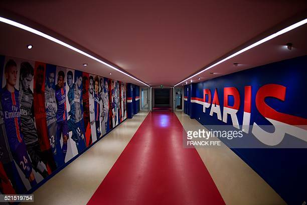 A photo taken on April 15 2016 shows a view of the hallway leading to the locker rooms at Parc des Princes stadium in Paris Built in 1972 Parc des...