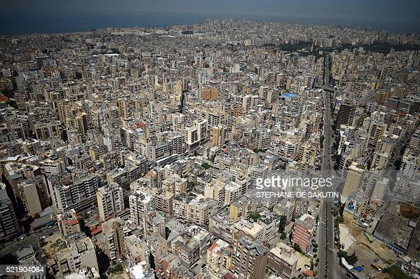 A photo taken on April 17 2016 shows an aerial view of the Lebanese capital Beirut / AFP / STEPHANE DE SAKUTIN