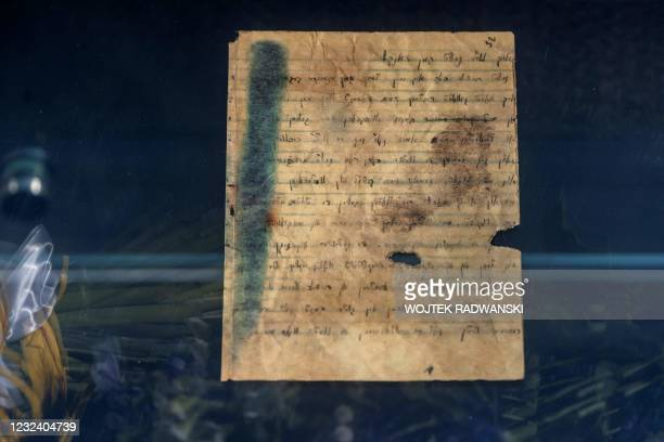Photo taken on April 19, 2021 shows a handwritten will by then 19-year-old Dawid Graber inside of a monument dedicated to the underground archives of...